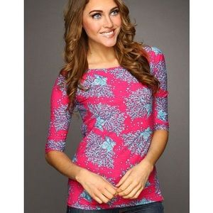 Lilly Pulitzer Coral Cocktail Cassie Top Small